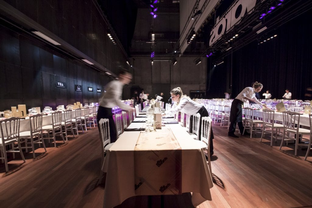Rabo Hall with dinner on stage